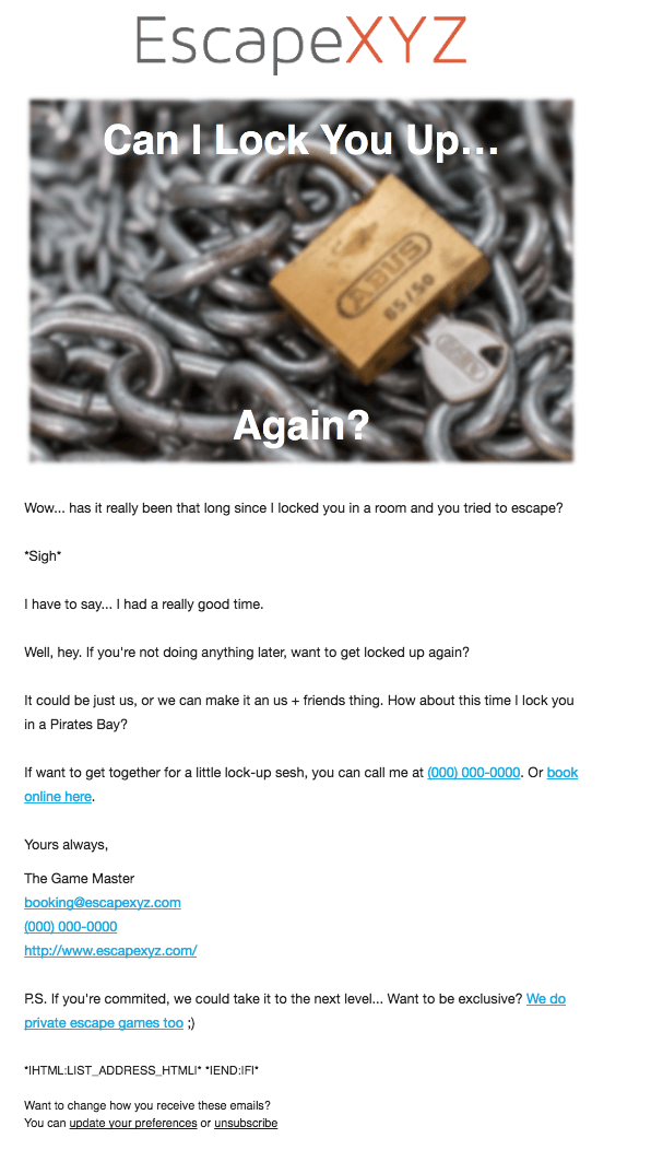 Escape Room Email Ideas