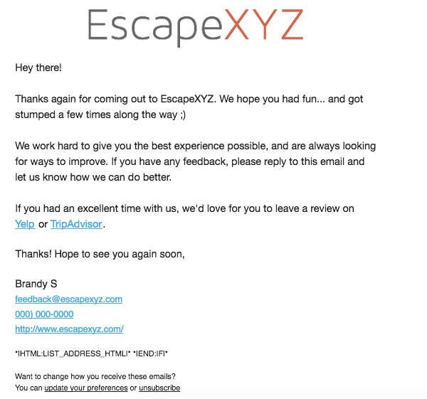 Escape Room Review Request Email
