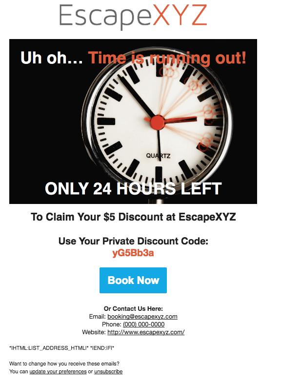 Escape Room Promotional Email