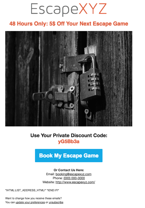 Escape Room Email Template