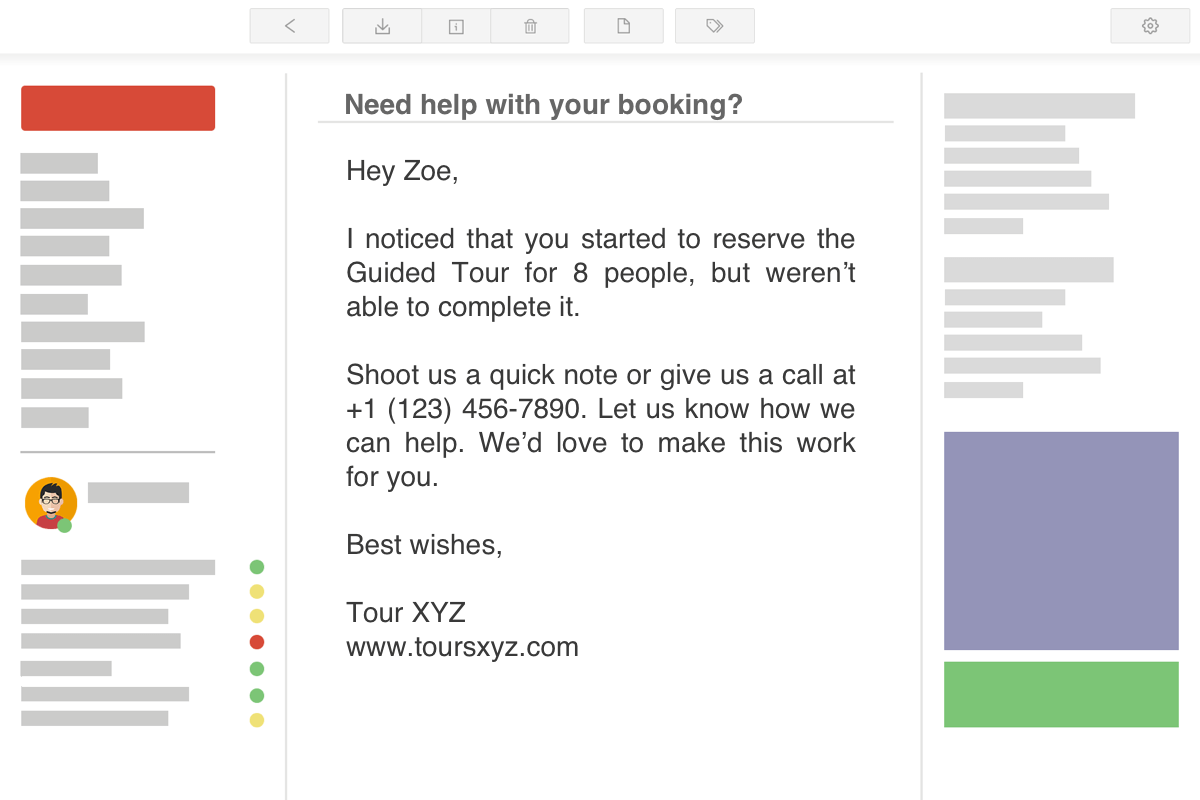 Abandoned Booking Email Example